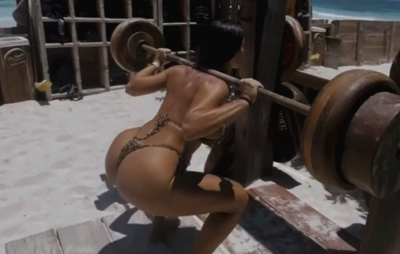 Lucia Javorcekova Works on Her Booty at the Beach